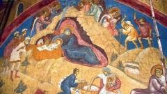 Рождество Христово–стенопис от XIV в. в манастира Високи Дечани в Косово