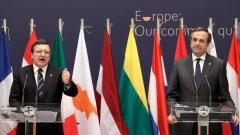 Zhoze Barozu dhe Andonis Samaras gjatë ceremonisë së marrjes të presidencës.