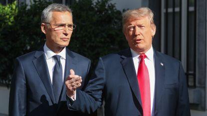 Йенс Столтенберг и Доналд Тръмп на срещата им на работна закуска в посолството на САЩ в Брюксел преди срещата на върха на НАТО.