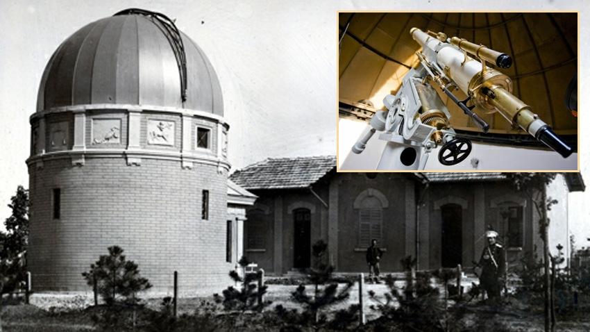 Das Observatorium, 1899. Im kleinen Bild: Das erste Teleskop aus dem Jahr 1897 mit einem Spiegeldurchmesser von 15 cm.