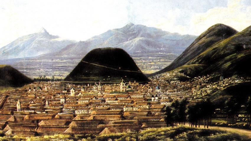 Град Кито в средата на IX век - картина на художника Рафаел Салас.