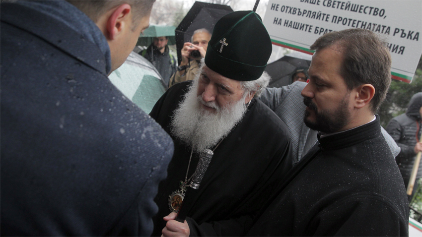 Bulgarian Patriarch Neophyte among the gathering for the silent march of supporters before the Synod Palace