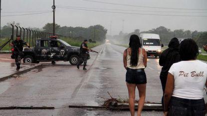 Полицаи блокират района около затвора край бразилския град Белен, разположен сред дъждовните гори на Амазонка, след опита за бягство.