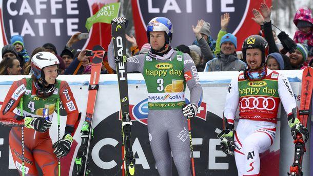 Марсел Хиршер (в средата) спечели в Кранска гора