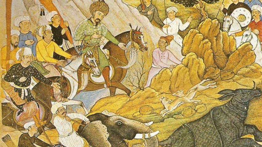 Бабур по време на лов за носорог (фрагмент от илюстрация на книгата)