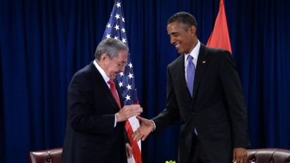 Раул Кастро и Барак Обама на срещата си в ООН миналия септември