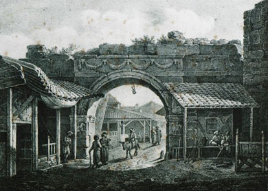 "Vardari Gate, 1831, etching from ""Journey to Macedonia"" by French diplomat E.M. Cousinery; in late 19c. that was a Bulgarian quarters mostly"
