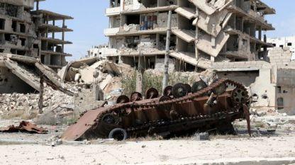 Разрушения в Сирия в резултат н абоевете.
