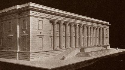 Проект нового здания Народной библиотеки архитекторов Васильова и Цолова