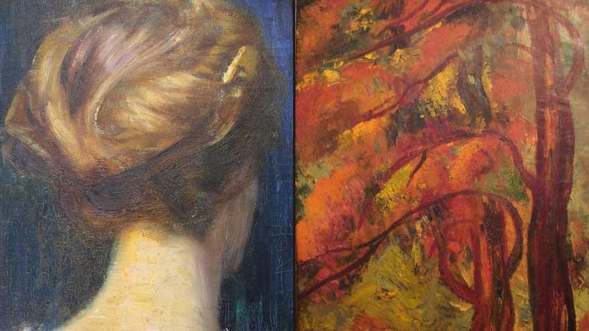 """Links: """"Etüde"""" von Wladimir Dimitrow, der Meister; rechts: """"Herbstwald"""" von Kyrill Zonew"""