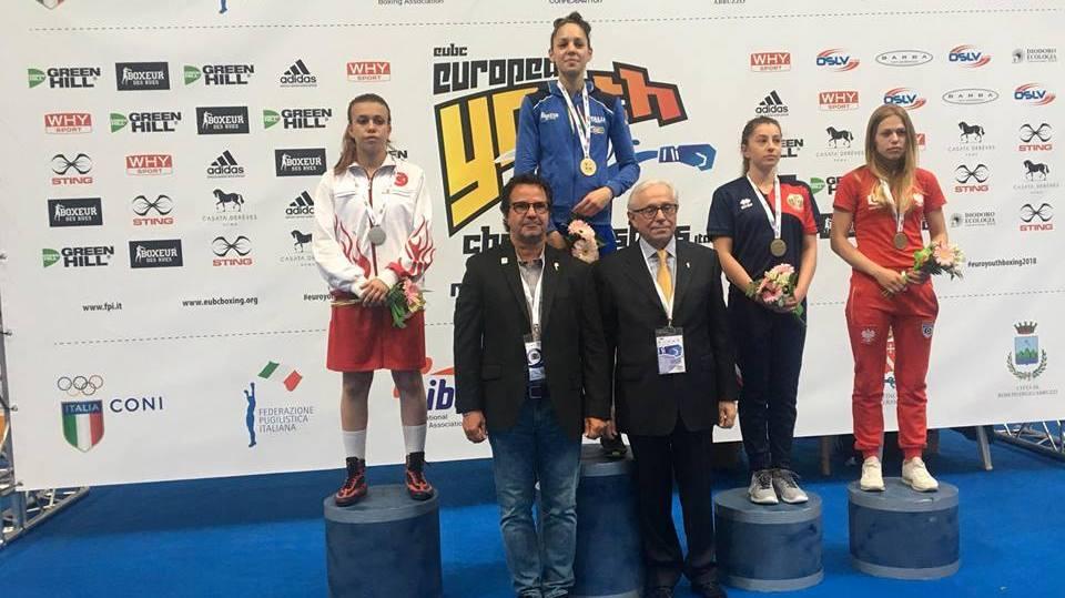Видинчанката Елина Георгиева, вдясно- с тъмен екип, спечели бронзов медел от ЕП по бокс