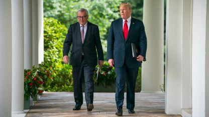 Доналд Тръмп и Жан-Клод Юнкер след срещата в Белия дом