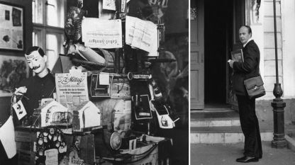 На сн;: вдясно - Андрей Наков, вляво - част от неговия изключително богат архив.