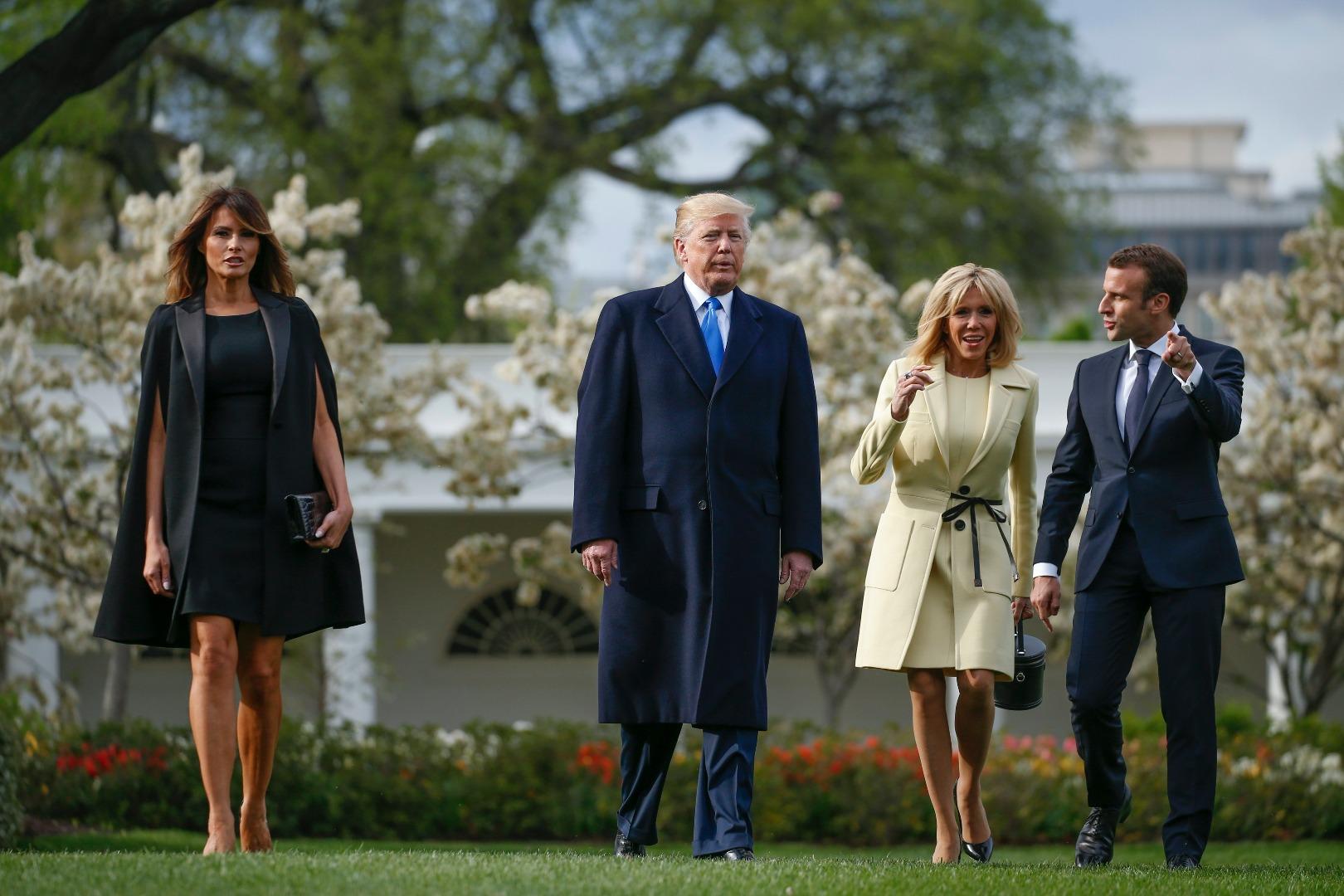 Американският президент Доналд Тръмп, френският му колега Еманюел Макрон и