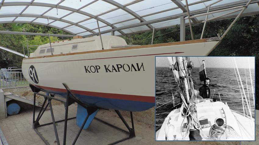 """""""Кор Кароли"""" във Военноморския музей във Варна. На малката снимка: Кап. Георги Георгиев на борда на яхтата"""