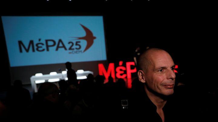 Янис Варуфакис на обявяването на новата си гръцка партия в Атина.