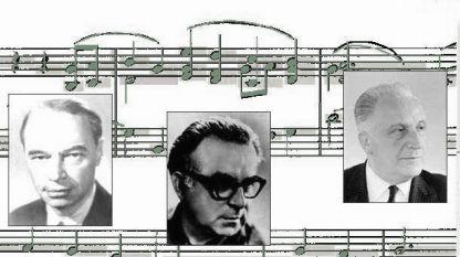 Българските композитори и музикални директори в БНР: Димитър Ненов, Парашкев Хаджиев и Боян Икономов.