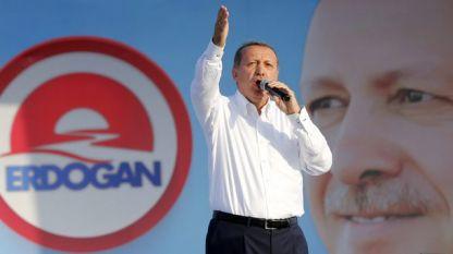 Реджеп Ердоган по време на предизборно събитие