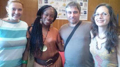 Крум Богдански с една от звездите на XVII Джаз фестивал Банско - нигерийката от САЩ Ийока