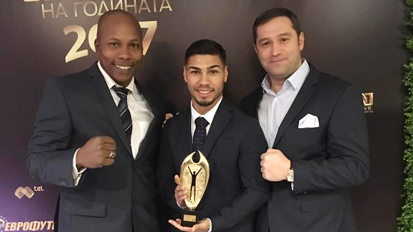 Joel Soler with Daniel Assenov (center) – 2017 sportsman #5 in Bulgaria, with Chairman of BBF Krassimir Ininski