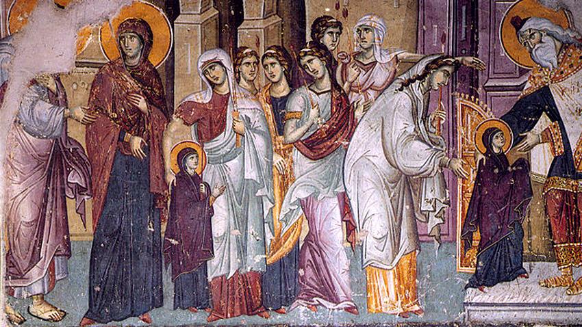Ваведење Пресвете Богородице у храм, фреска из Сретенског манастира