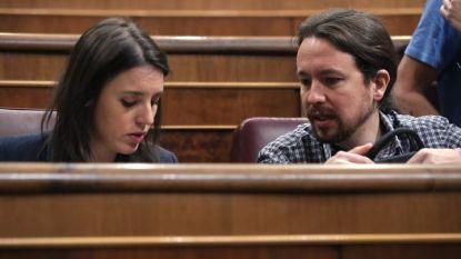 Пабло Иглесиас и неговата партньорка Ирене Монтеро на дебати за актуализация на бюджета в парлабента през април 2018 г.