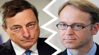 Марио Драги от ЕЦБ и Йенс Вайдман от Бундесбанк