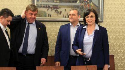 Кадър от вчерашната среща между БСП и ВМРО