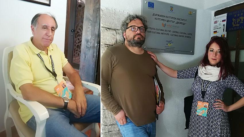 Проф. д-р Божидар Манов от международното фестивално жури (вляво), директорът на In The Palace film fest Цанко Василев и фестивалният мениджър Лилия Кучева в Двореца в Балчик.