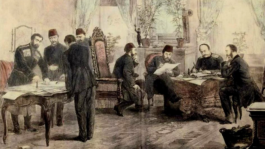 The signing of the San Stefano Peace Treaty