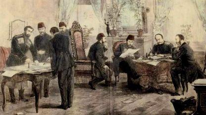 Подписването на Санстефанския мирен договор, 3 март (19 февруари ст. ст.) 1878 г. гравюра