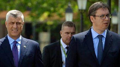 Президентите на Косово Хашим Тачи (вдясно) и на Сърбия Александър Вучич