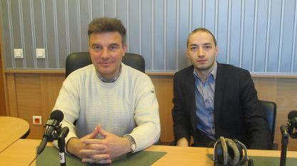 """Доц. Иво Христов (вляво) и Димитър Ганев в студиото на """"Нашият ден"""""""