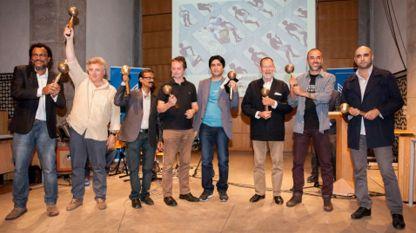 """Наградените в категория """"Редакционна карикатура"""". Чавдар Николов е вторият отляво надясно."""