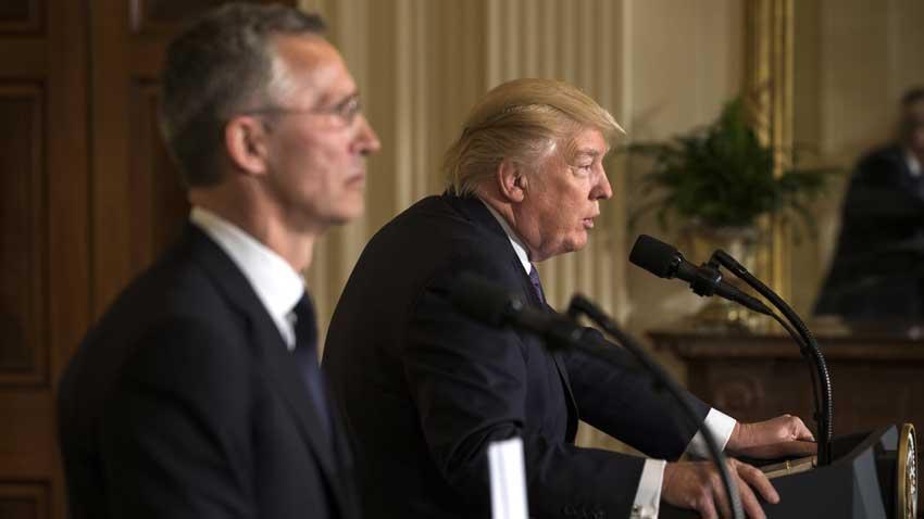 Sekretari i Përgjithshëm i NATO-së Jens Stoltenberg dhe Presidenti i SHBA-ve Donald Trump