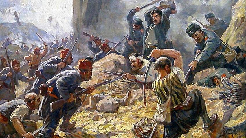 """""""Schlacht am Schipkapass"""" von Dimitar Gjudschenow"""