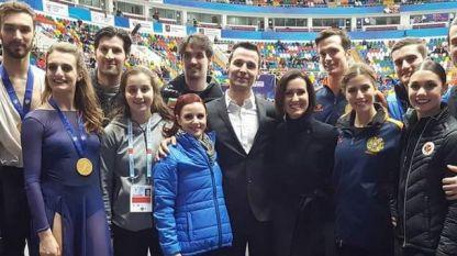 Теодора Маркова и Симон Дазе с треньорите си Мари Франс Дюбрей и  Ромен Хагенауер в Москва на европейския шампионат