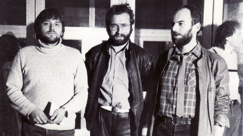 Николай Дойнов, Богдан Томов и Кристиян Бояджиев (отляво надясно), 1985.