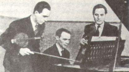 Академично трио в състав: д-р Христо Обрешков (цигулка), Димитър Ненов (пиано) и Константин Попов (виолончело).