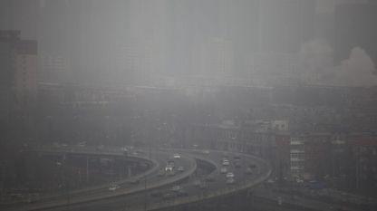 Замърсяване на въздуха в Пекин, Китай.