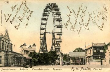 Пощенска картичка с Виенското колело от първите му години
