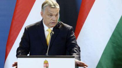 Унгарският министър председател Виктор Орбан по време на пресконференция в Унгарския парламент на 10 април, след убедителната победа на парламентарните избори на водената от него коалиция