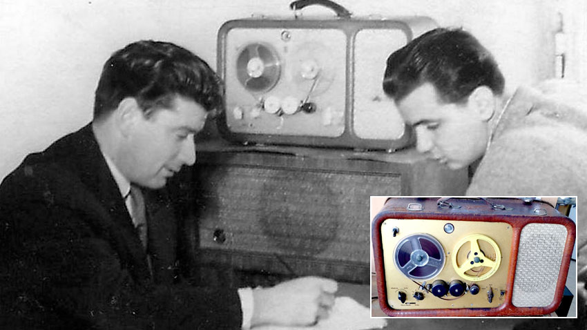 Petar Petrov and Petar Milushev with the tape-recorder Philips EL 3530.