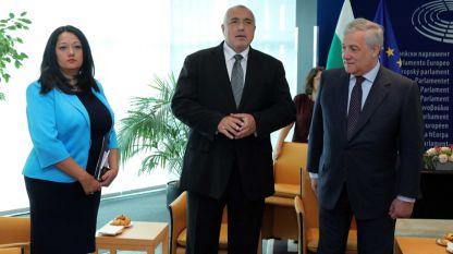 Председателят на Европейския парламент Антонио Таяни (вдясно), министър-председателят Бойко Борисов и министър Лиляна Павлова.