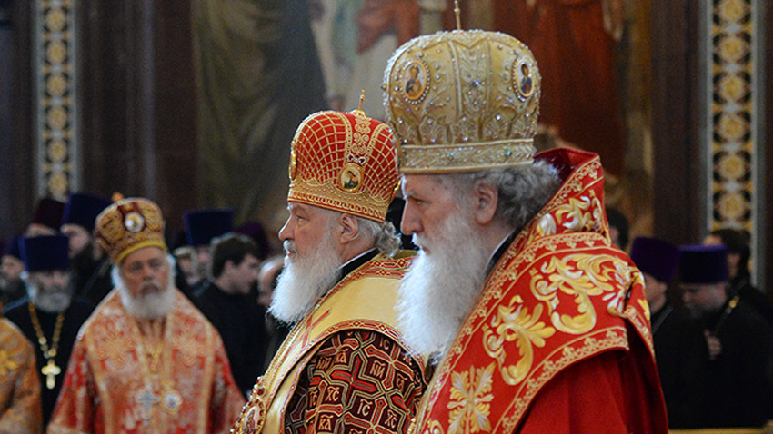 Патриархи Кирилл и Неофит в Москве