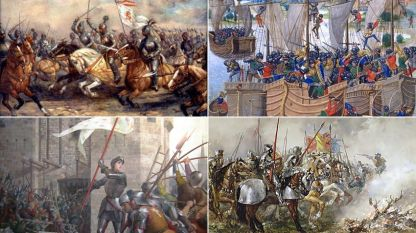 По посока на часовниковата стрелка, от горния ляв ъгъл: Ян Люксембургски в битката при Креси; Английски и френско-кастилски кораби в битката при Ла Рошел; Хенри V с армията си в битката при Азенкур; Жана д'Арк води войските на Валоа при обсадата на Орлеан.