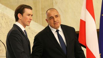 Канцлерът на Австрия Себастиан Курц и премиерът Бойко Борисов