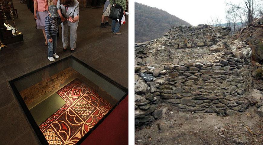 """Подземният археологически музей под базиликата """"Света София"""" (ляво) и крепостта Урвич (дясно). Снимка: архив"""