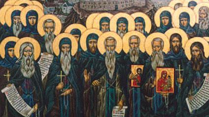 Събор на преподобните светии български (фрагмент от икона в храма на Софийската семинариа