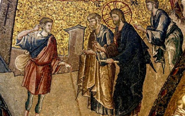 Чудото с изцеляването на йерихонския слепец. Мозайка от XIV в. в манастира Хора в Истанбул.